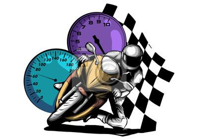 Road motorcycle rider, abstract vector silhouette, motor sport logo illustration