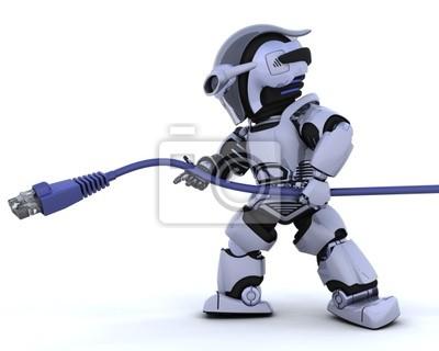 robot avec câble réseau RJ45