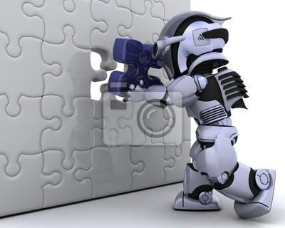 robot avec la dernière pièce du puzzle