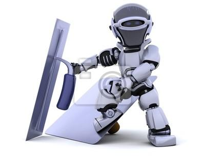 robot avec plâtrage outils [faucon et truelle]