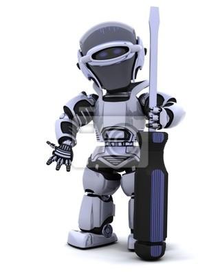 Robot avec un tournevis