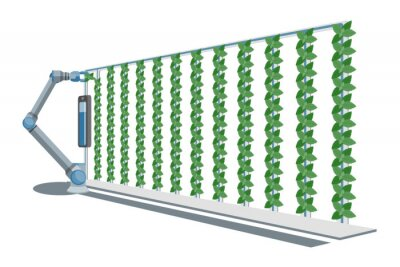 Papiers peints Robotic arm in greenhouse with vertical gardens. Smart farm with wireless control. Vector illustration.