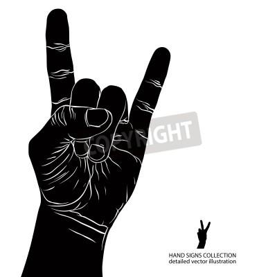 Papiers peints Rock on signe de la main, rock n roll, le hard rock, heavy metal, musique, noir et blanc illustration vectorielle détaillée.