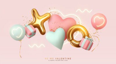 Papiers peints Romantic creative composition. Happy Valentine's Day. Realistic 3d festive decorative objects, heart shaped balloons and XO symbol, falling gift box, glitter gold confetti. Holiday banner and poster.