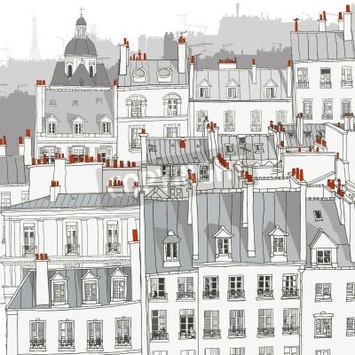 Papiers peints Roofs of Paris - Vector illustration