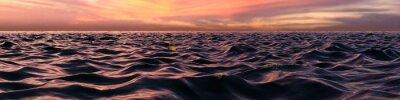 Papiers peints Rose, coucher soleil, panorama, sur, océan, vagues