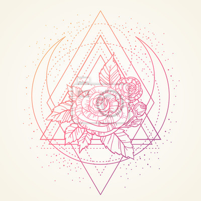 Rose Fleur Sacre Geometrie Cadre Tatouage Symbole Mystique