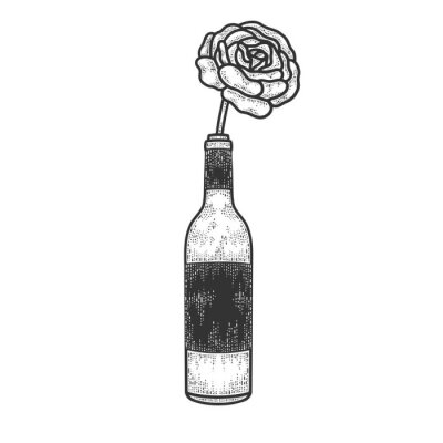 rose flower in a bottle of wine sketch engraving vector illustration. T-shirt apparel print design. Scratch board imitation. Black and white hand drawn image.