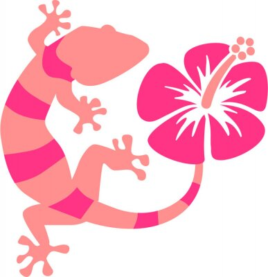 Papiers peints Rose Gecko à l'hibiscus
