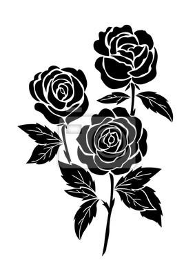 Rose Noire Isolee Illustration De Tatouage De Fleurs Vecteur
