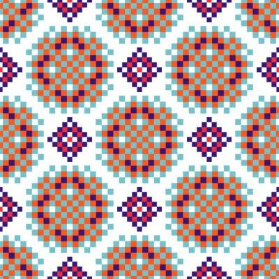 Rosette shapes folk seamless vector pattern pixelated texture.