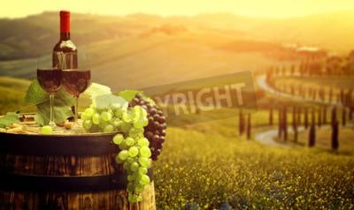 Papiers peints Rouge, vin, baril, vignoble, vert, Toscane, Italie