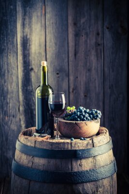 Papiers peints Rouge, vin, frais, raisins, vieux, baril