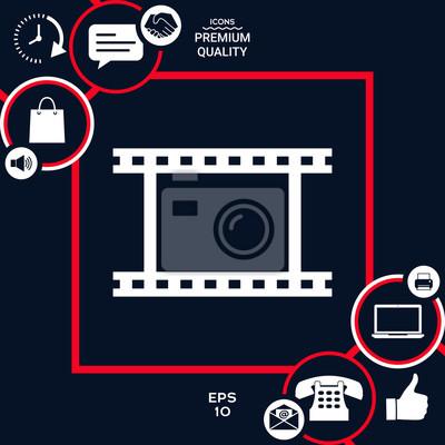 Rouleau De Camera Film Photographique Icone De Symbole De Film Papier Peint Papiers Peints Camera Photographie Bobine Myloview Fr