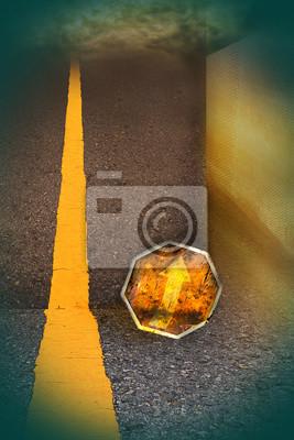 Route dans une autre vie. Signes jaunes Les flèches indiquent une meilleure façon.