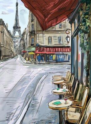 Papiers peints Rue de Paris - illustration