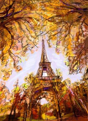 Papiers peints Rue de Paris. Tour Eiffel - illustration