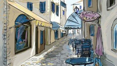 Papiers peints rue - façades des vieilles maisons dans la ville