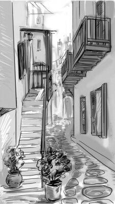 rue - façades des vieilles maisons dans la ville