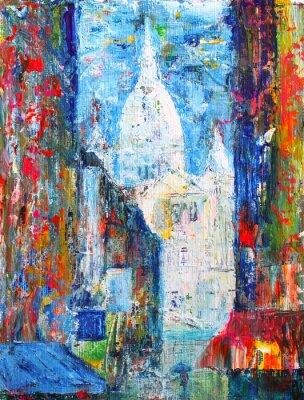 Papiers peints Rue Montmartre à Paris, France peint par acrylique