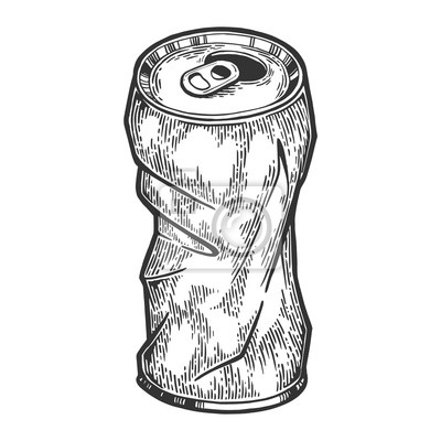 Rumpled metal can sketch engraving vector illustration. Scratch board style imitation. Hand drawn image.