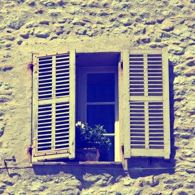 Fenetre Rustique rustique, fenêtre, vieux, bois, volets, pierre, rural, maison