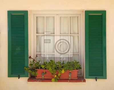 Fenetre Rustique rustique, fenêtre, vieux, vert, volets, fleur, pot papier peint