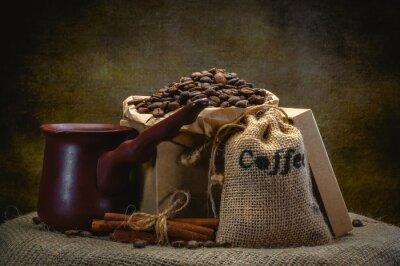 Papiers peints Sac à café sur fond sombre