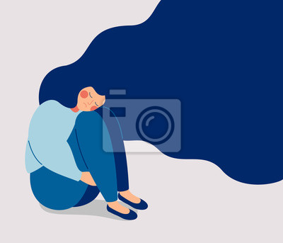 Papiers peints Sad lonely Woman in depression with flying hair. Young unhappy girl sitting and hugging her knees. Depressed teenager. Colorful vector illustration in flat cartoon style