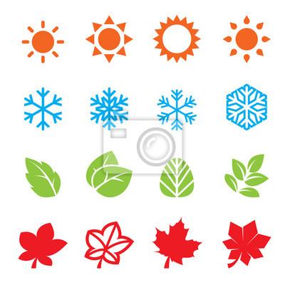 Papiers peints saison, icône, ensemble
