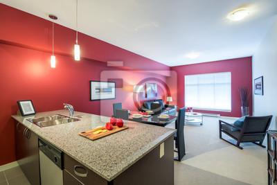 Papiers Peints Salle à Manger Rouge Moderne Avec Cuisine Dans Un Appartement  De Luxe. Conception