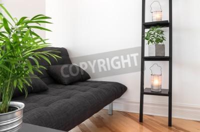 Papiers Peints Salon Avec Canape Gris Decore Avec Des Plantes Et Des Lanternes