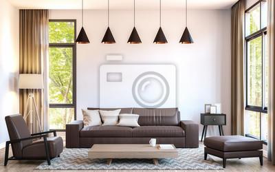 Papiers peints: Salon de salon moderne décoré avec des meubles en cuir  marron