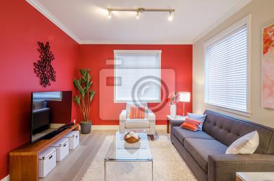 Incroyable Papiers Peints Salon Rouge Moderne. Design Du0027intérieur