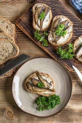 Sandwich with sprats.