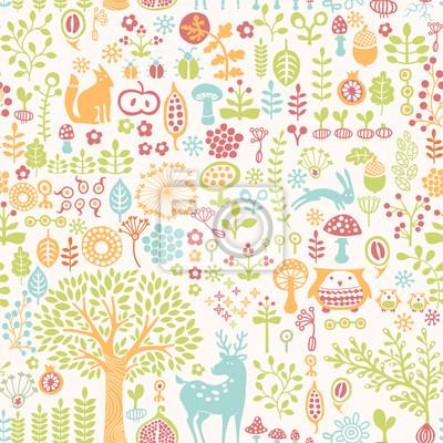 sans soudure de fond avec l'ornement coloré de la forêt