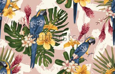 Papiers peints Sans soudure de fond tropical avec des fleurs tropicales, ara bleu et jaune et flamingo. Illustration tropicale dans un style hawaïen vintage.