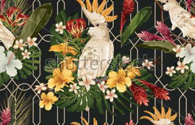 Papiers peints Sans soudure de fond tropical avec des fleurs tropicales et oiseau cacatoès. Fond d'écran Tropicana, papier numérique, illustration de trame dans le style hawaïen vintage.