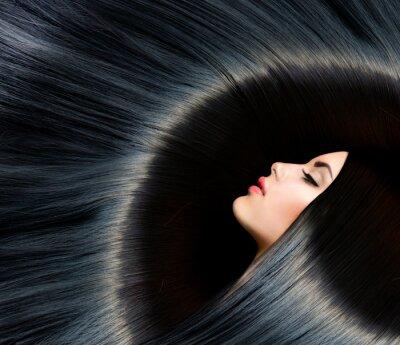Papiers peints Santé longs cheveux noirs. Beauté Brunette