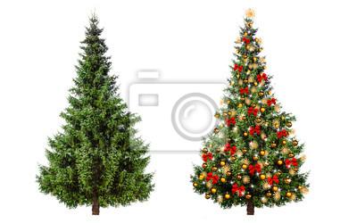 Sapin de Noël décoré et sans fioritures