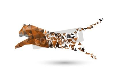 Papiers peints Sauter le tigre des polygones
