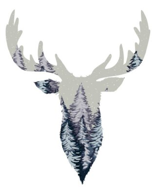 Papiers peints Sauvage, cerf, tête, silhouette