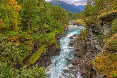 Papiers peints Sauvage, montagne, rivière, entre, escarpé, falaises