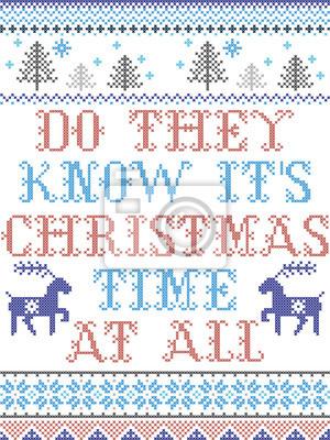Savent-ils qu'il s'agit de la période de Noël à tous les modèles vectoriels de style scandinave inspirés par l'hiver festif de la culture nordique au point de croix avec cœur, flocons de neige, étoile