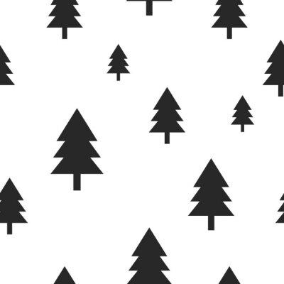 Papiers peints Scandinave, noir, forêt, arbre, blanc, vecteur, seamless, Conception simple et à la mode pour tissu textile, papier enveloppant, impressions.