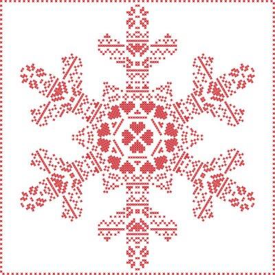 Papiers peints Scandinave, nordique, croix, couture, tricot, noël, modèle, dans, flocon, FORME, à, croix, point, cadre, inclure, neige, coeurs, étoiles, décoratif, éléments, rouges, fond