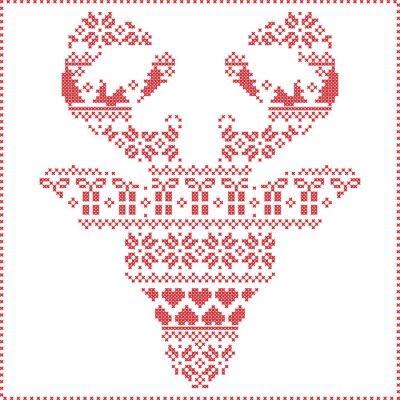Papiers peints Scandinave, nordique, hiver, piquer, tricoter, noël, modèle, dans, renne, tête, figure, frontal, y compris, flocons de neige, coeurs, xmas, arbres, noël, présents, neige, étoiles, décoratif, ornements