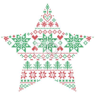 Scandinave nordique, hiver, point, tricoter, noël, modèle, dans, étoile, FORME, FORME, inclure, flocons neige, noël, arbre, neige, étoile, décoratif, élément, ornement, rouges, vert