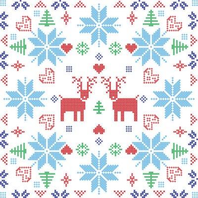 Papiers peints Scandinave, nordique, hiver, stich, à tricoter, seamless, modèle, carrée, FORME, inclure, flocons de neige, Arbres, noël, flocons neige, coeurs, rennes