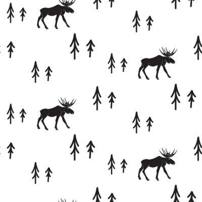 Scandinave, simple, style, noir, blanc, cerf, seamless, modèle. Deers et pins modèle de silhouette monochrome.